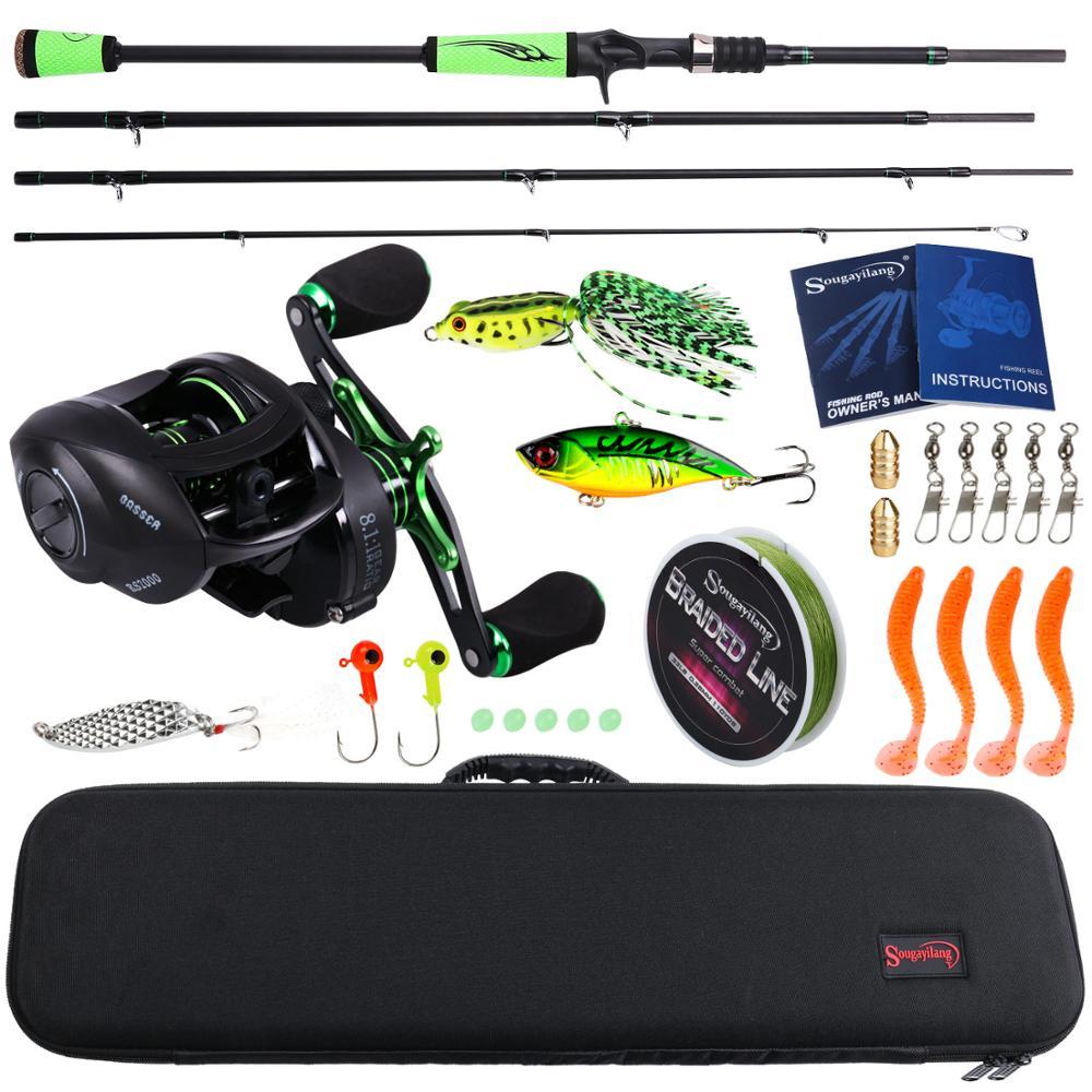 Sougayilang canne à pêche Combo Portable 4 sections en Fiber de carbone Baitcsting tige coulée bobine avec ligne de pêche leurres crochets tête de gabarit