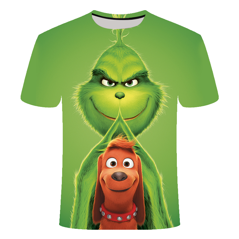 Summer New Fashion Men And Women Film Grinch T-shirt Anime 3D Printing Casual Men And Women Casual T-shirt Tops