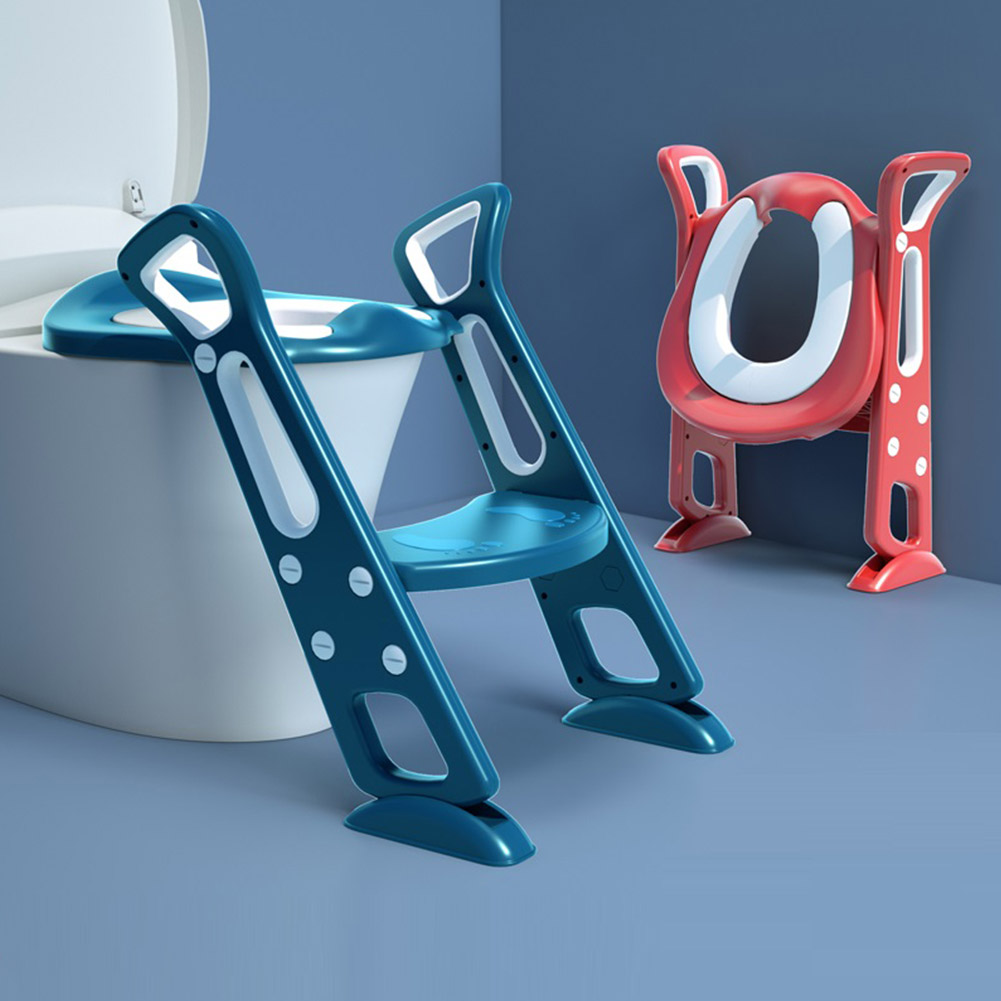 Foldable Children's Potty Training Seat Non-slip Stable Toddler Toilet Seat With Step Stool Ladder Adjustable Height