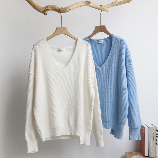 2019 Autumn Winter Women's Sweaters V-Neck Minimalist Tops Fashionable Korean Style Knitting