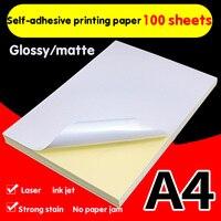 100 листов А4 самоклеящаяся бумага для печати белая струйная бумага для лазерного принтера наклейка этикетка наклейка глянцевая матовая бум...
