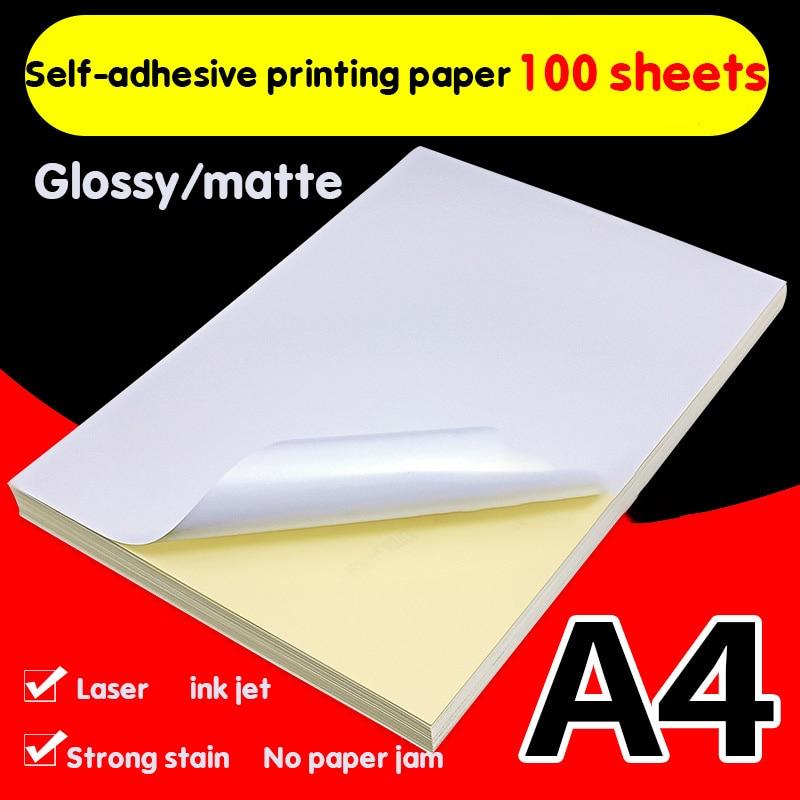 100sheets A4 Self-adhesive Print Paper White Inkjet Laser Printer Paper Sticker Label Sticker Glossy Matte Paper Wood Pulp Paper