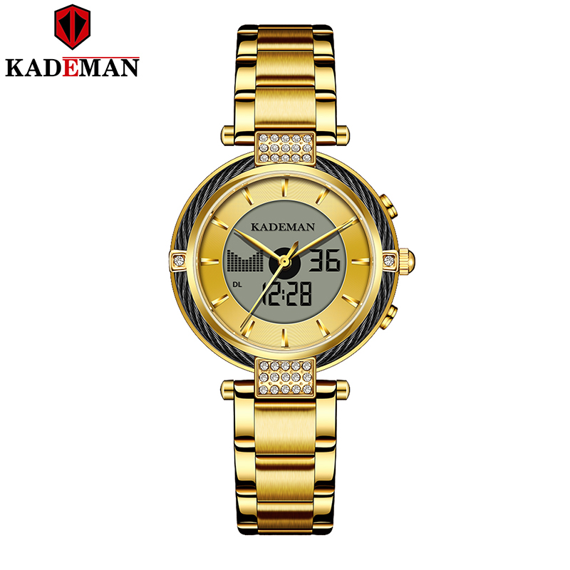 Kademan K9080 New  Top Brand Quartz And Digital Women Watch LCD Screen Luxury Business Style FashionSimple Glod Girl Clock
