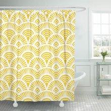 Patrón Vintage amarillo con motivos de escala en 1930S y 1920S estilo bohemio chino cortinas de ducha poliéster impermeable