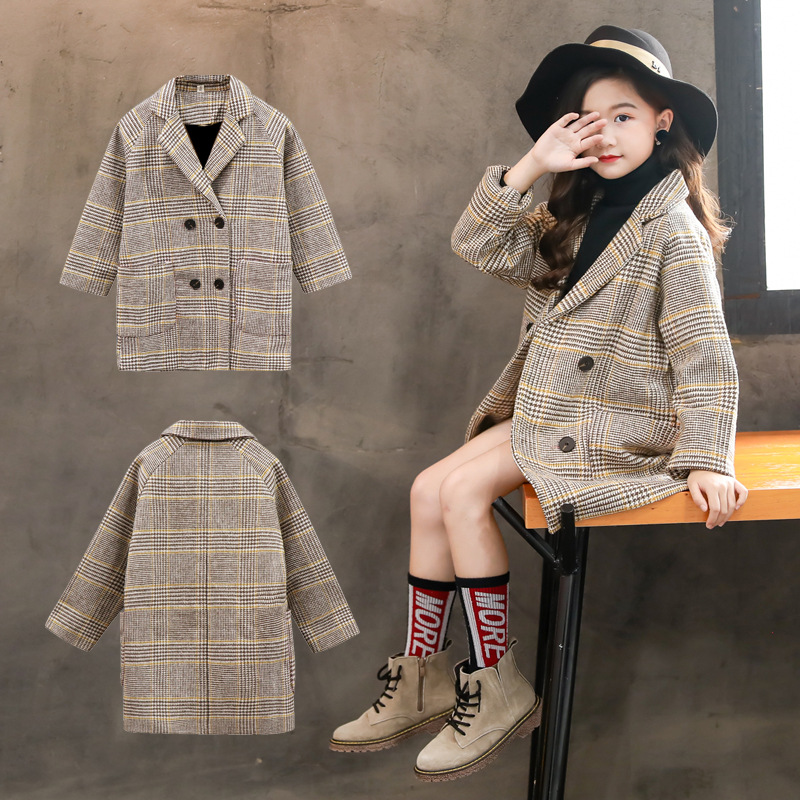 Mayfair Cabin Autumn Winter Clothes 2019 Children's  Woolen Outerwear Coats Large Girl Pocket Solid Color Long Coat