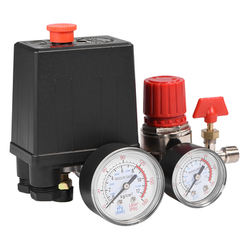 Air Compressor Pressure Valve Switch Small Adjustable Piston Structure Switch Control Valve Regulator 3 Holes With Gauges air compressor pressure regulator switch control valve gauge with male female connector