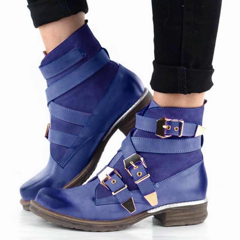 Kadın moda İngiliz tarzı mor mavi yarım çizmeler 2019 yeni bayanlar PU deri kış gladyatör kısa çizmeler günlük çizmeler
