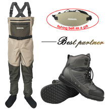 Fishing Clothes Waders Fly Fishing Clothing Outdoor Hunting Waterproof Pants and Rubber Sole Shoes Set Wading Suits Boots DXR1 unisex plus 46 fishing waders leg pants super large synthetic leather boots thickening sole one piece fishing waders leg pants