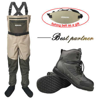 Fishing Clothes Waders Fly Fishing Clothing Outdoor Hunting Waterproof Pants and Rubber Sole Shoes Set Wading Suits Boots DXR1 - DISCOUNT ITEM  35% OFF All Category