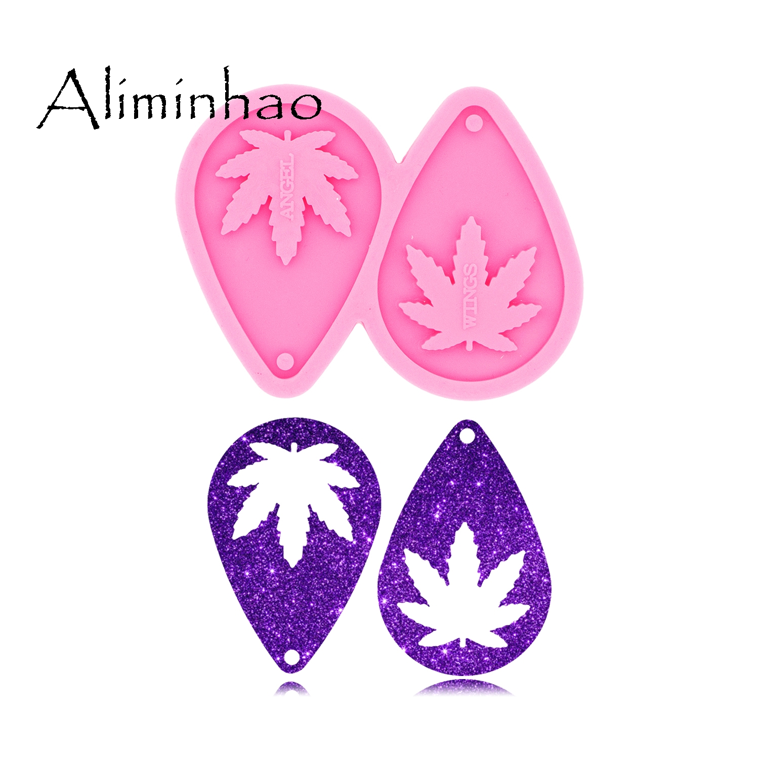DY0437 L/M/S Pot Leaf Hemp Tear Drop Hoop Earrings DIY Epoxy Silicone Molds Fashion Jewelry Marijuana Resin Craft Mould