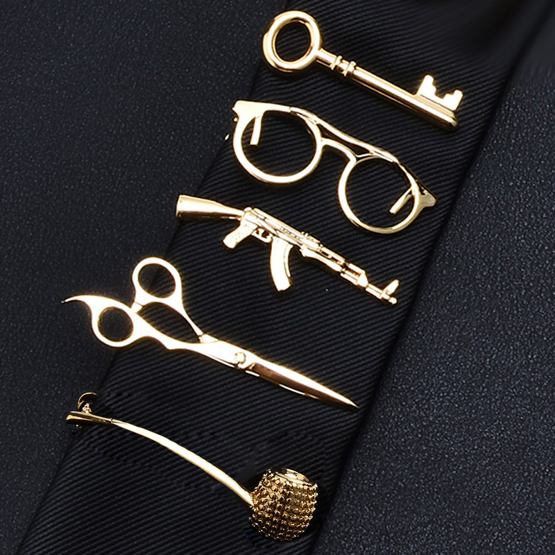 Tie Bar Mens Classy Metal Scissors Glasses Tie Clip Male Accessories Business Banquet Bar Casual Necktie Clips Clasp Gift