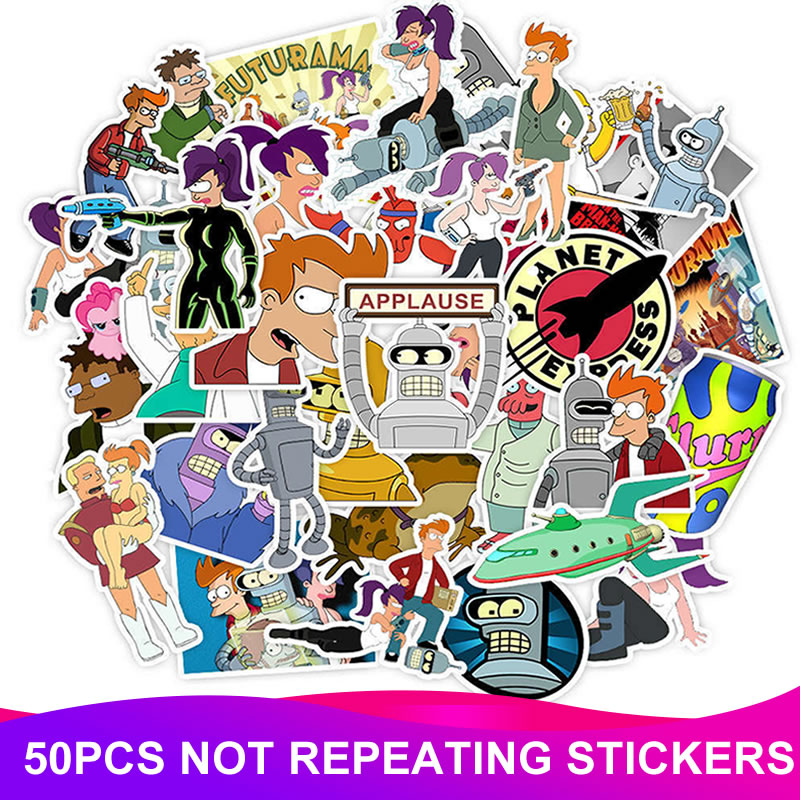 50pcs/Pack Waterproof PVC Anime Futurama Stickers Skateboard Travel Suitcase Bicycle Motorcycle Laptop Guita Sticker Classic Toy