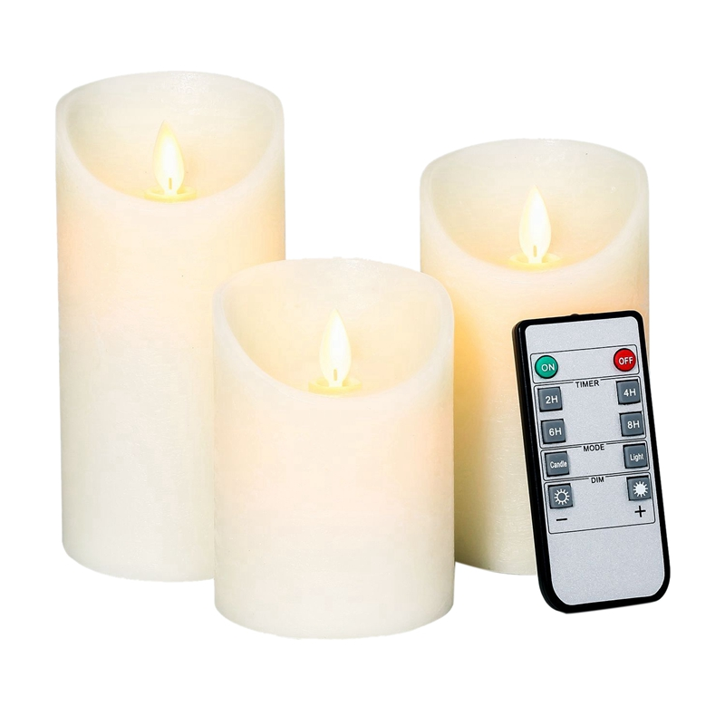 Top-Flameless Candles Battery Operated Pillar Real Wax Flickering Moving Wick Electric Led Candle Sets With Remote Control Cycli