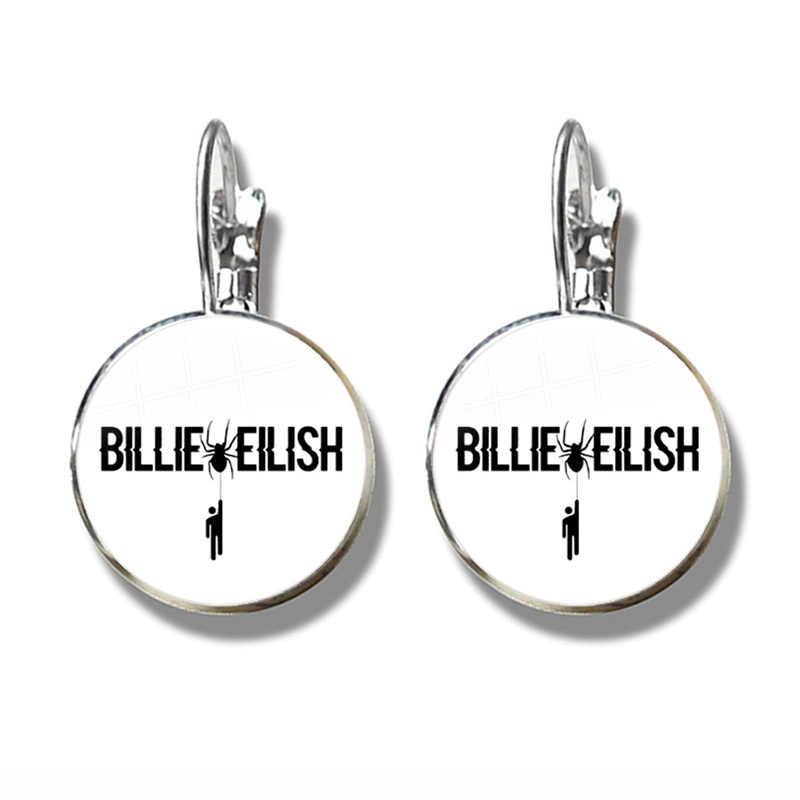 Nie uśmiechaj się Do mnie kolczyki Billie Eilish złego faceta popularne hip-hop piosenkarka Trendy 16mm szkło Cabochon ucha Do kobiety mężczyźni fani prezent