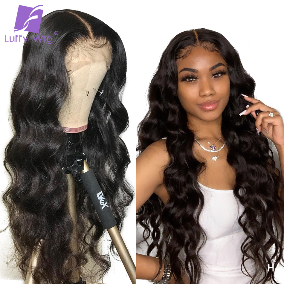13x6 Lace Front Fake Scalp Wig 150%-180% Wavy Human Hair Lace Wigs PrePlucked Bleached Knots Remy Peruvian Hair For Women LUFFY