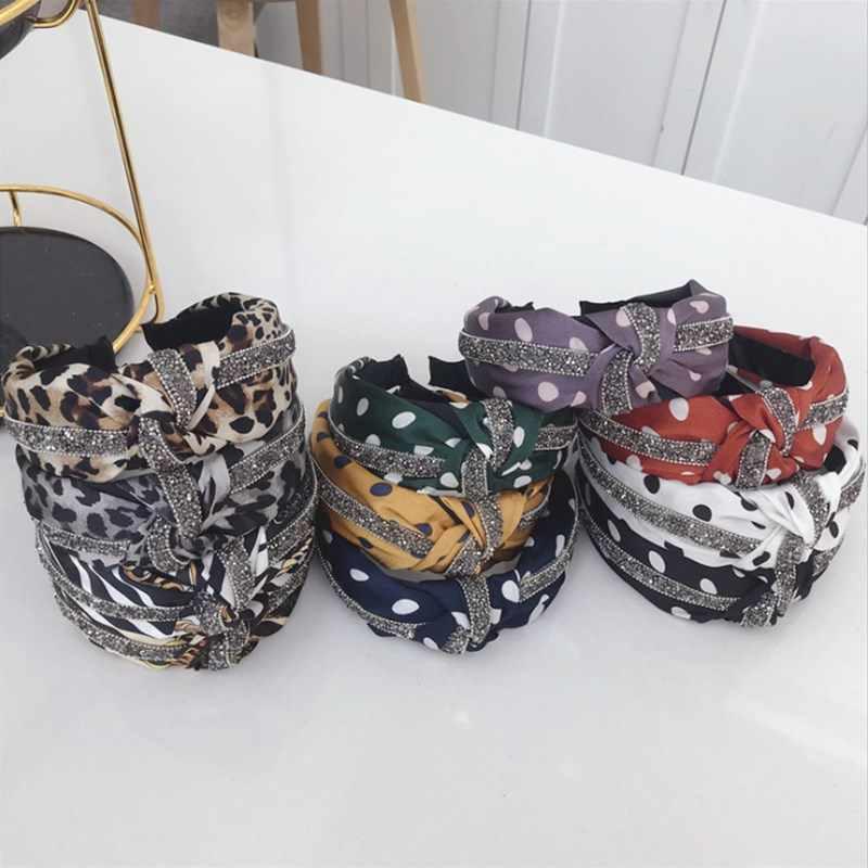 Высококачественные аксессуары для волос женские волнистые леопардовые полосы полосатые алмазные завязанные Широкие повязка с козырьком заколки для девочек повязка для волос