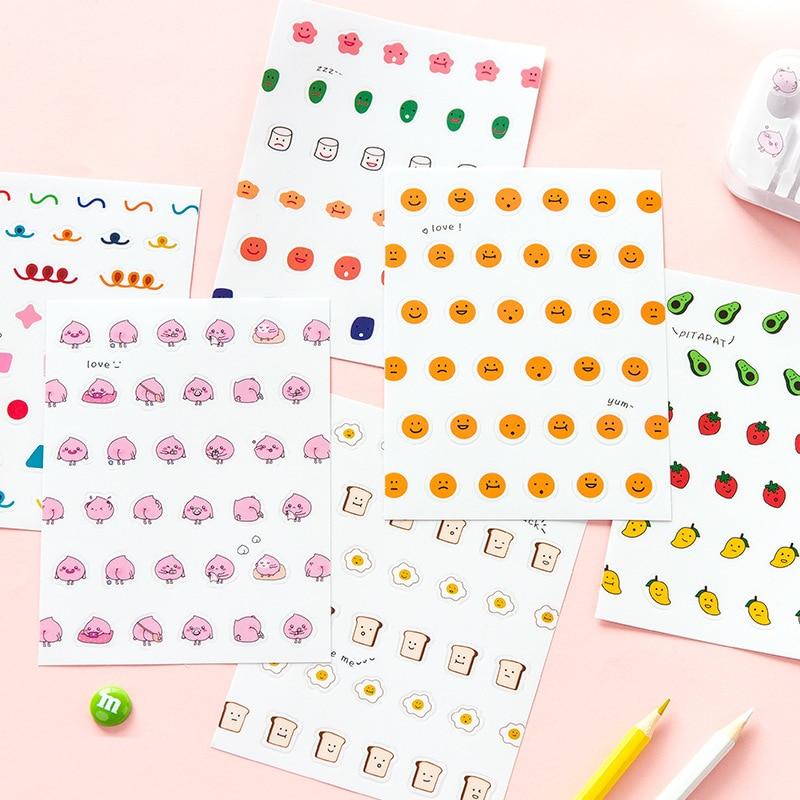 Mohamm 2 Sheets Matte PVC Face Sticker Funny Cute Cartoon Creative Stationary Scrapbooking Gift Girl School Supplies