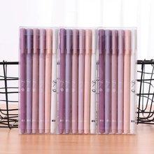 Stylo Gel à encre noire 0.5mm violet, 6 pièces, stylo d'écriture créatif coréen, fournitures de papeterie cadeaux