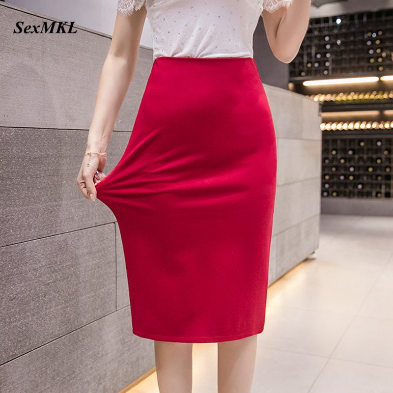 Plus Size Pencil Skirts Womens 2020 Elastic Casual High Waist Sexy Office Ladies Black Red Jupe Femme Bodycon Skirt Women