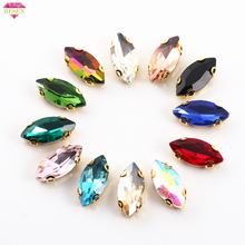 RESEN 7x15mm 50pcs/pack D Shape Claw Sew On Stones Horse Eye Faltback Glass Sewing Rhinestones With Holes DIY Accessories