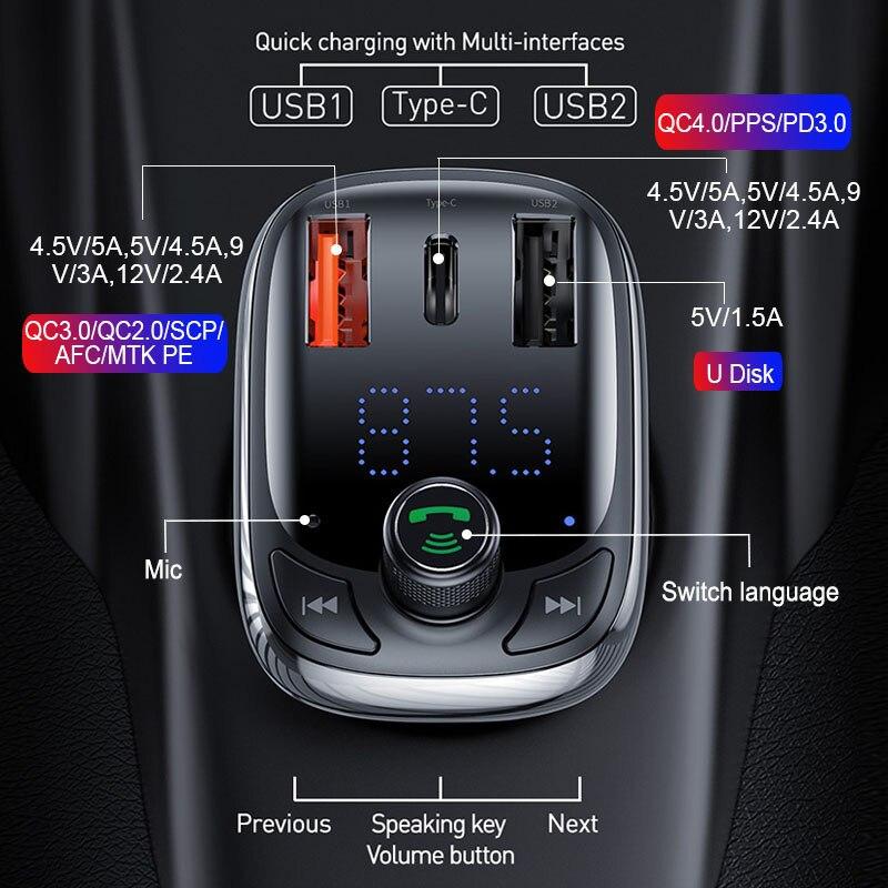 Image 2 - Baseus FM トランスミッタ変調器の Bluetooth 5.0 ハンズフリーカーキットオーディオ MP3 プレーヤー  PPS QC3.0 QC4.0 5A 高速車の自動車充電器    グループ上の 自動車