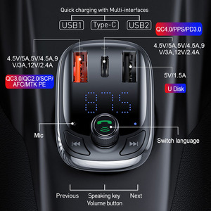 Image 2 - Baseus FM Transmitter Modulator Bluetooth 5.0 Handsfree Car Kit Audio MP3 Player With PPS QC3.0 QC4.0 5A Fast Car Auto Charger