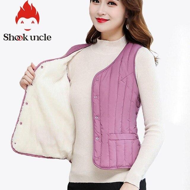 Women Sleeveless Vest Winter Warm Plus Size 4XL Down Cotton Padded Jacket villus Female Veats Slim fit Sleeveless Waistcoat 713 2