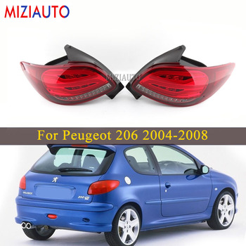 1 Pair Led Rear Tail lights For Peugeot 206 2004 2005 2006 2007 2008 206CC Stop Brake lamp Car Parts Accessories