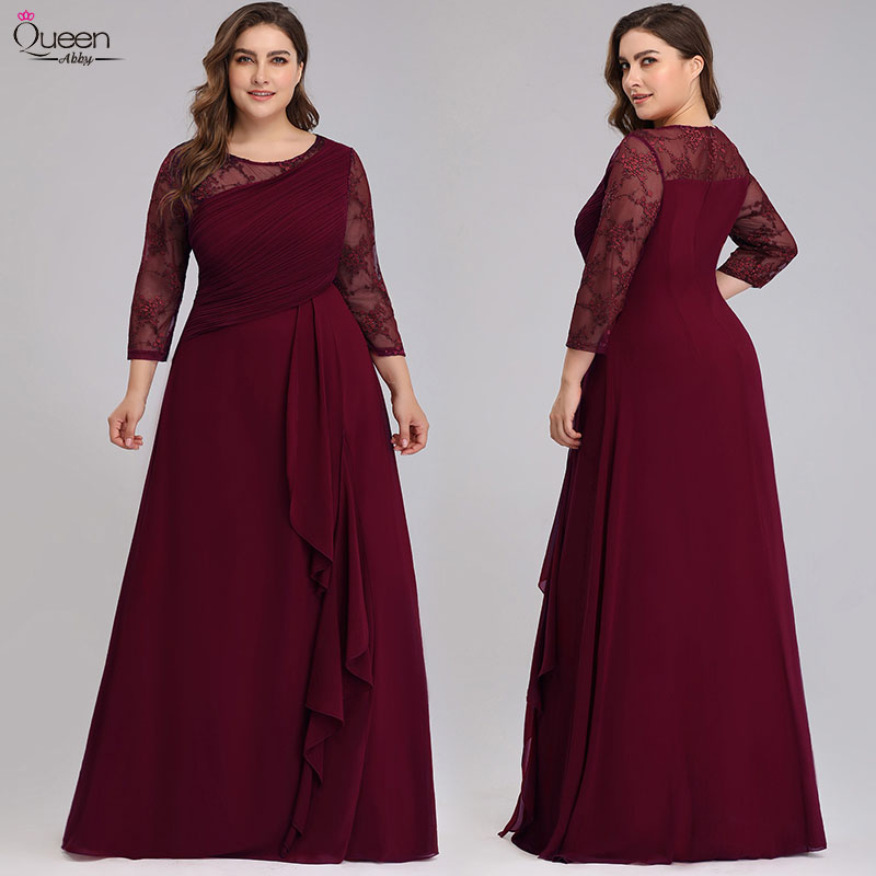 Lace Mother Of The Bride Dresses Plus Size Evening Party Gowns Elegant A-line Chiffon 3/4 Sleeves O-neck Bride Mother Dress