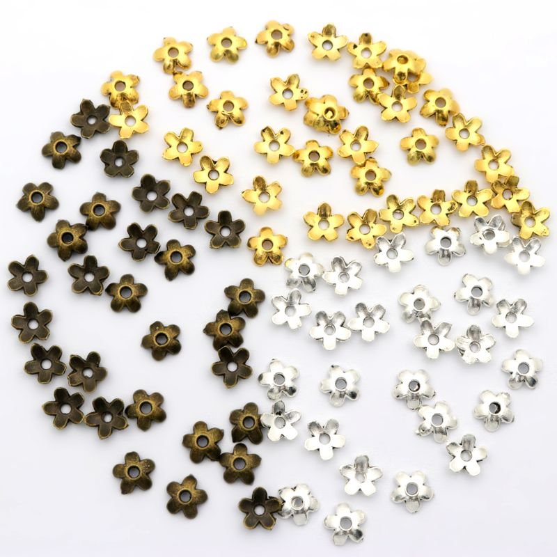 100pcs Mixed Small Size Flower Blanking End Bead Caps Spacer Diy Supplies Accessories For Jewelry Making Bracelet Neckalce