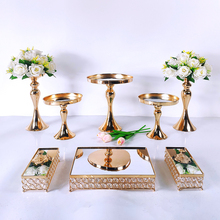 Cake-Stand-Set Mirror Dessert Cupcake-Decorations Pedestal Wedding-Party-Display-Tray
