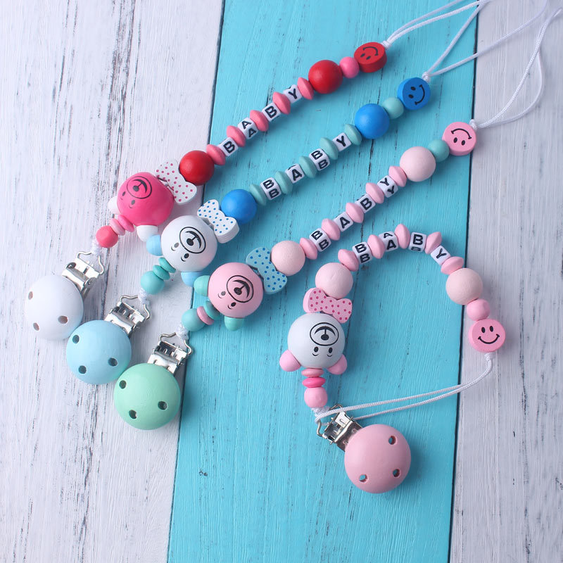 2019 Newest Silicone Teether DIY Wooden Baby Pacifier Clips Chain Children Funny Pacifier Chain Teething Holder For Baby Gift