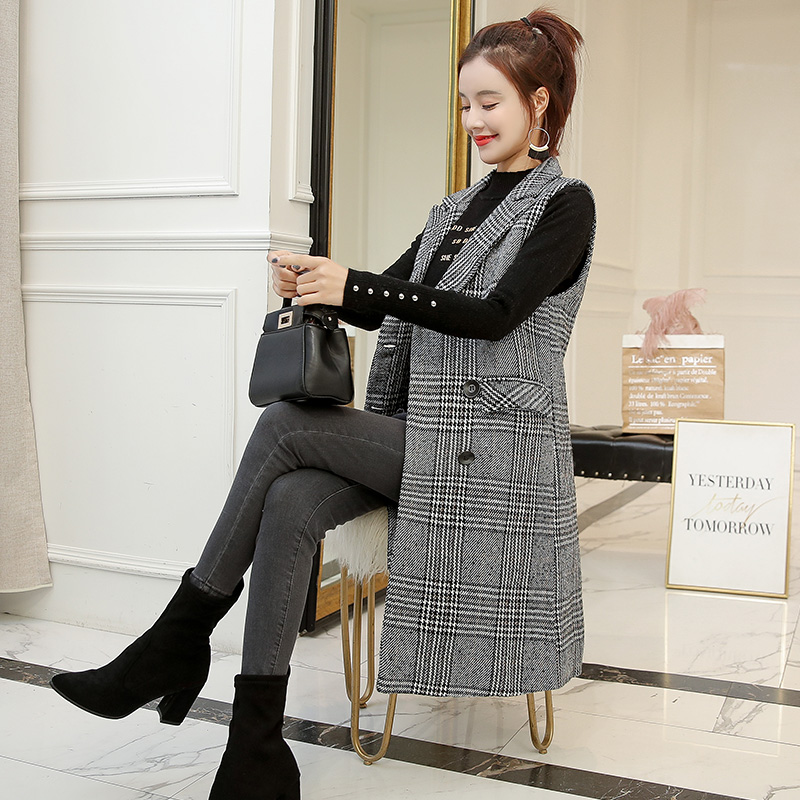 2020 New Spring Plaid Women's Sleeveless Jacket Double Breasted Long Vest Female Korean Elegant Waistcoat Slim Veste Femme Coat