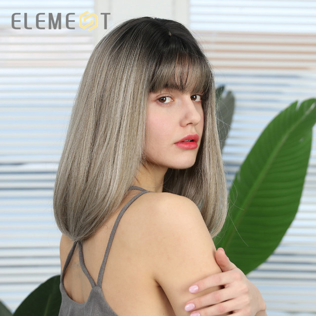 Element Short Straight Bob Wigs with Bangs Ombre Black to Milk Tea Color Synthetic Wigs for White/Black Women