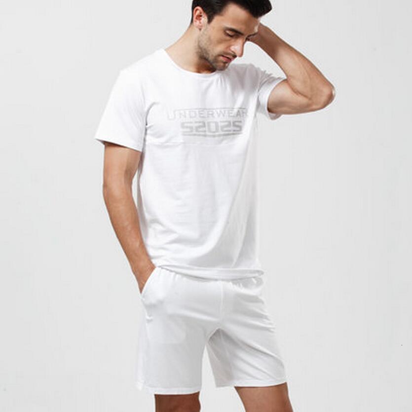 New Men's casual sleepwear men's modal summer lounge t-shirt shorts set thin cool men's sleep wear men pajamas sleepwear