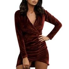 цена на Sexy Dress Women Party Dress V-neck vestidos Long Sleeve Velvet Dresses Ruched Overlap Surplice Mini Bodycon Club Pencil Dress