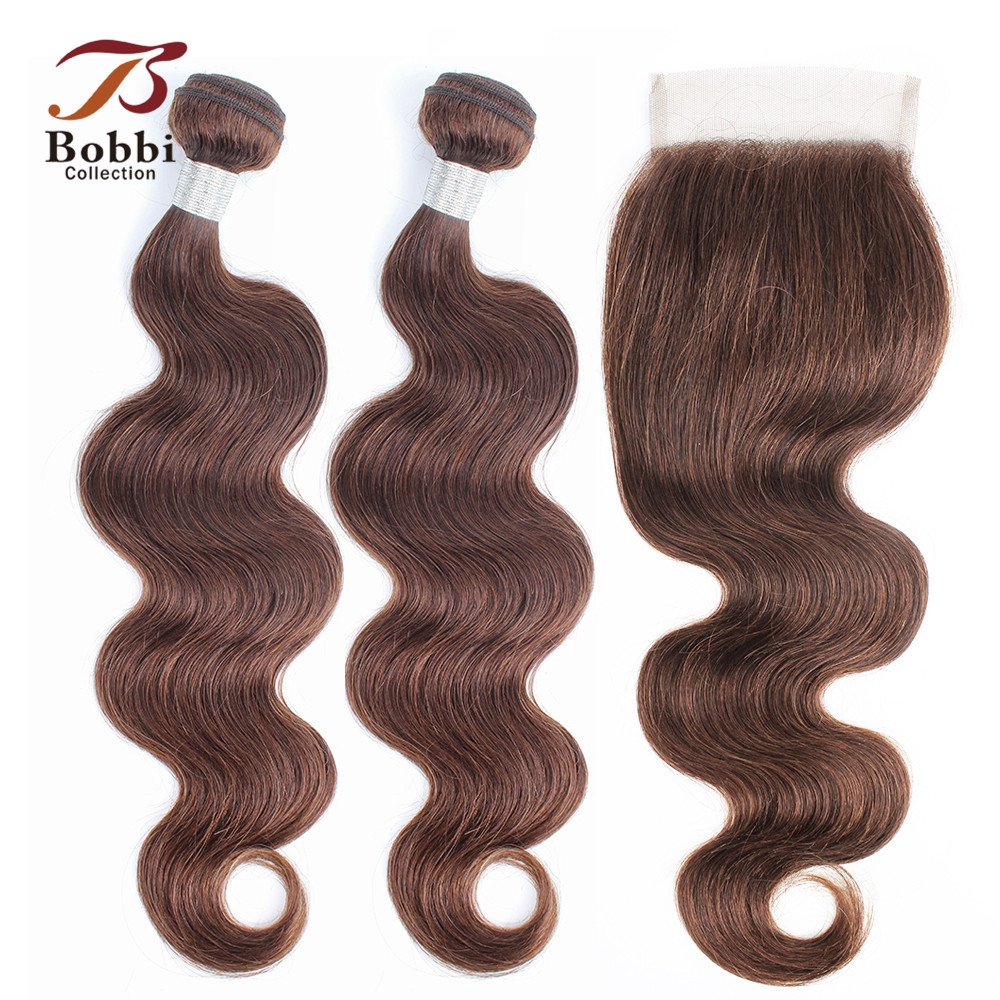 BOBBI COLLECTION Color 4 Chocolate Brown Body Wave Hair 2/3 Bundles With Lace Closure Indian Non-Remy Human Hair Weave Brown