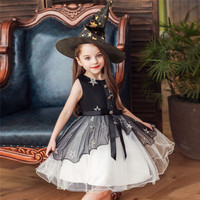 Halloween carnival Cosplay Costume Children party dress Girl Witch embroidery bubble Dress+Hat kid princess dress