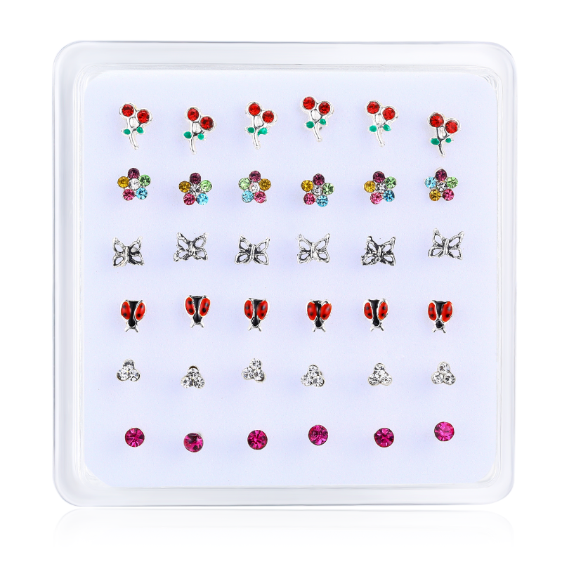 36pcs/pack 925 sterling silver nose stud ear Cherry Flower Butterfly ladybird straight pin nose piercing nostril body jewelry