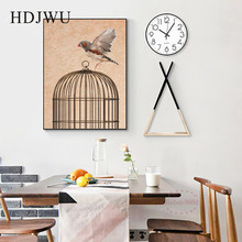 Modern Artistic  Art Home Canvas Wall Picture Bird Cage Creative Decoration Poster for Living Room DJ297