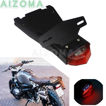 Motorcycle License Plate Lights Bracket Assembly w/ Tail Brake Stop Lights For BMW R NINE T 2014 2015 2016 17 2018 Scramble Pure