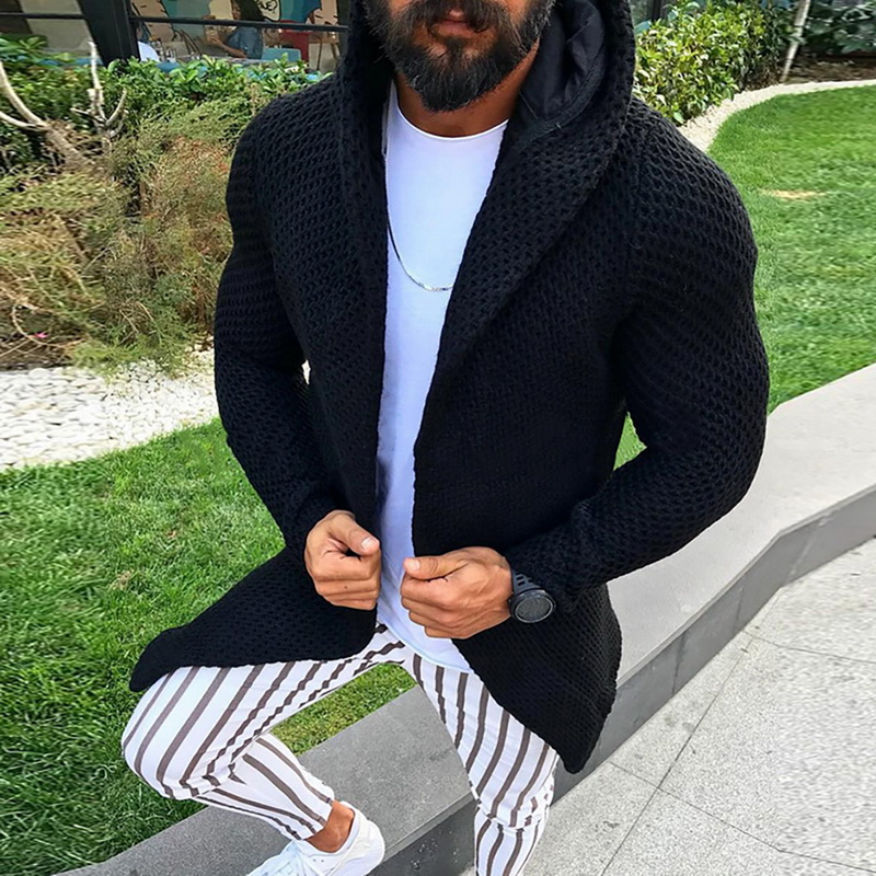 Cardigan Men Long Sleeve Midi Sweater Coat With Pocket Winter And Autumn Casual Solid Color Cardigans Pull Hooded Sweater