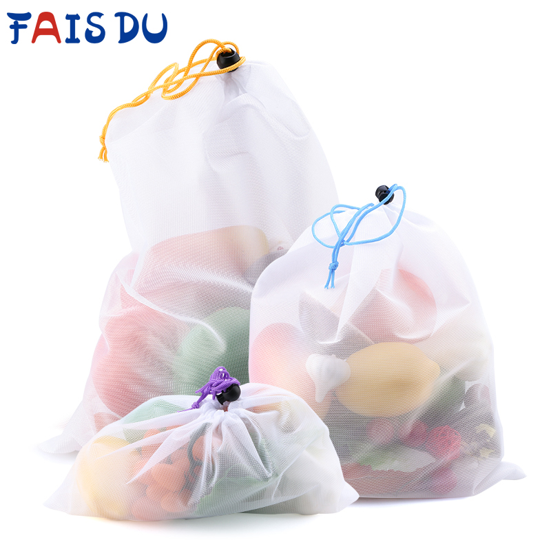 3/9/15pcs Reusable Vegetable Fruit Mesh Produce Bags Colorful Tape Washable Eco-Friendly Bags For Storage Toys Sundries