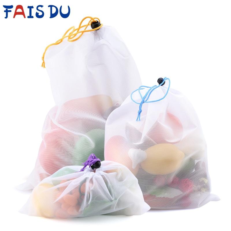 Многоразовые сетчатые продуктовые мешки для овощей, фруктов, 3/9/15 шт., цветная лента, моющиеся экологически чистые мешки для хранения игруше...