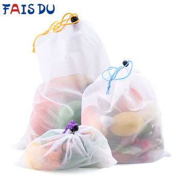 3/9/15pcs Reusable Vegetable Fruit Mesh Produce Bags Colorful Tape Washable Eco-Friendly for Storage Toys Sundries - discount item  30% OFF Home Storage & Organization
