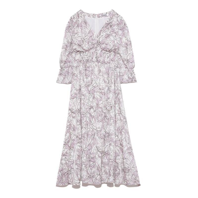 Kuzuwata V Neck Long Sleeve Slim Pullover Dress Women Vintage Print High Waist Hip A Line Long Vestidos Spring 2021 New Robe 9