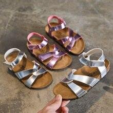 цена на 2020 Summer Soft Children's Shoes Girls Sandals Gladiator Sliver Cross Strap Sandals for Girls School Student Girl Sandal D03042