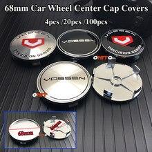 Estilo do carro 4 pçs 20 pçs 100 pçs vossen logotipo roda aro centro hub tampa emblema cobre 68mm 65mm emblema adesivo acessórios para todos os carros