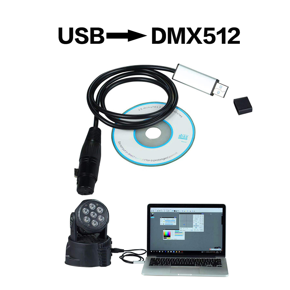 Usb To Dmx Interface Adapter Stage Lighting Disco Light Dj Dmx Interface Usb Party Lights Beam Usb Led Dmx 512 InterfaceStage Lighting Effect   -