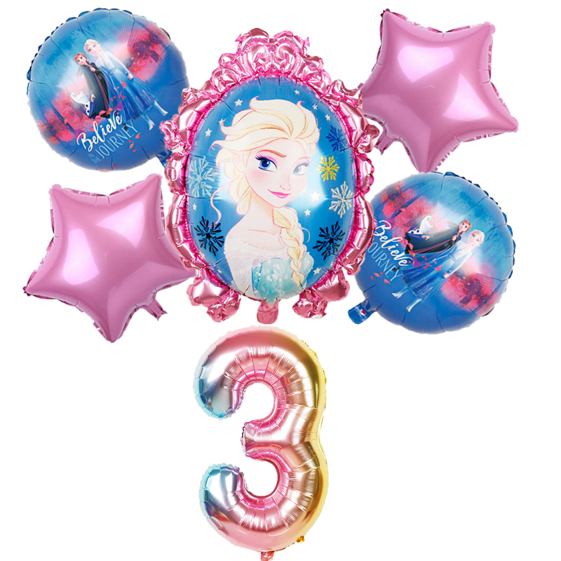 6pcs Elsa Disney Frozen Princess Helium Balloons 32inch Number Baby Shower Girl Foil Globos Birthday Party Decorations Kids Toys